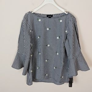 ALYX • Gingham Bell Sleeve Blouse • New with tags!